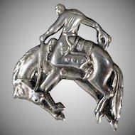 Vintage Bucking Bronco Lapel Pin with Nice Detail - Costume Jewelry
