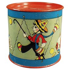 Vintage Toy Drum Tin Bank with Cute Graphics by Fern Bisel Peat