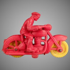Vintage Auburn Rubber - Small Rubber Motorcycle Toy with Rider
