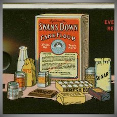 Vintage Celluloid Ink Blotter Advertising Swans Down Cake Flour