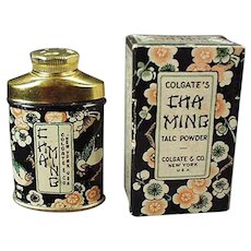 Vintage Clogate Cha Ming Sample Talc Tin with Original Matching Box