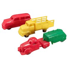 Three Vintage Plastic Banner Toy Vehicles – Station Wagon Car and 2 Trucks