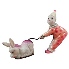 Vintage Celluloid Wind Up Toy Clown & Donkey - See in Action on Facebook
