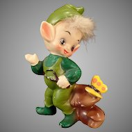 Vintage Josef Original Elf and Butterfly – Old Pixie Figurine with Label