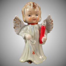 Vintage Porcelain Angel - Blonde Angel Carrying a Candle Christmas Figurine