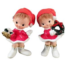 Vintage Norcrest Holiday Girl Figurines – Old Ceramic Christmas Decorations