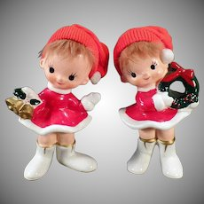Vintage Norcrest Holiday Girl Figurines – Old Ceramic Christmas Decorations