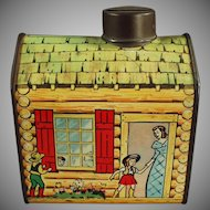 Vintage Tin Coin Bank - Old Log Cabin Syrup Tin Bank