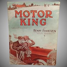 Vintage Motor King March and Two Step Sheet Music - Nice Automotive Graphics