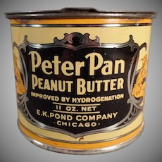 Vintage E.K. Pond Co. Peter Pan Peanut Butter Tin - Pry Lid