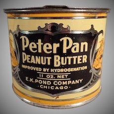 Vintage E.K. Pond Co. Peter Pan Peanut Butter Tin - Pry Lid