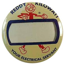 Vintage Reddy Kilowatt Name Badge Pinback