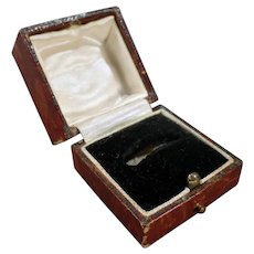 Vintage Paper Covered Ring Box – Masculine Brown Leatherette