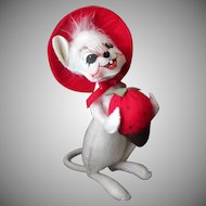 Old Annalee White Mouse Doll with Chocolate Dipped Strawberry
