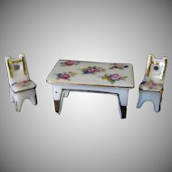 Vintage Miniature Porcelain Table and Chair Set with Floral Design