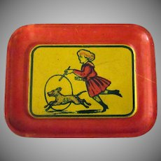 Vintage Miniature Tin Tray with Fun Litho – Great for a Doll House