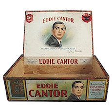 Vintage Eddie Cantor Cigar Box - Paper Labeled Wooden Box
