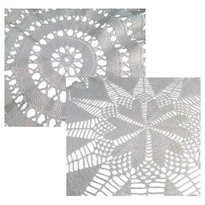 Two Vintage Crocheted Doilies - Two Different Designs - 2 Hand Made Doilys