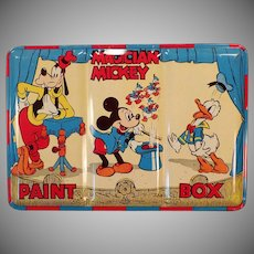 Vintage Magician Mickey Mouse Water Color Paint Set in Colorful Tin