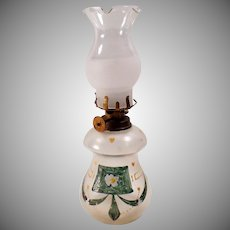 Vintage Miniature Kerosene Oil Lamp - Little Glass Lamp with Hurricane Shade