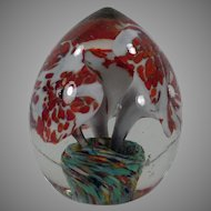 Vintage Egg Shaped Glass Paper Weight with Floral Design