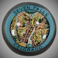 Vintage Seven Falls Colorado Advertising Glass Paperweight
