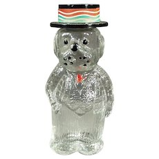 Vintage Figural Perfume Bottle - Dog Wearing a Hat with Lioret Label