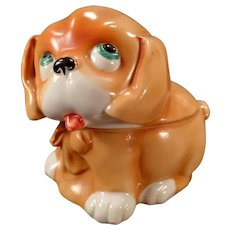 Vintage Porcelain Dresser Box - Cute Puppy Dog - Made in Germany