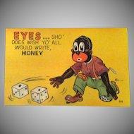 Vintage Black Memorabilia Postcard – Snake Eyes Dice