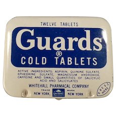 Vintage Medicine Tin - Guards Cold Aspirin Tablets Medical Advertising