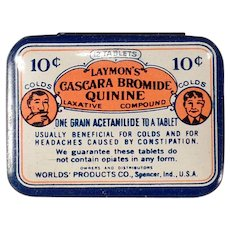 Vintage Medicine Tin- Laymon's Quinine Laxative Compound for Headaches