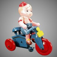 Vintage Celluloid Wind Up Toy - Boy on Tricycle O.J.