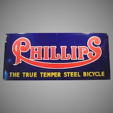 Large Vintage Porcelain Advertising Sign - Phillips Bicycles Bright & Colorful