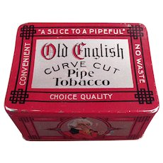 Vintage Old English Curve Cut Pipe Tobacco Tin with Nice Graphics
