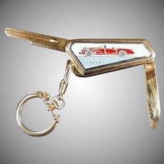 Vintage Buick Wildcat Automotive Accessory Keychain - Uncut Key with Pocket Knife