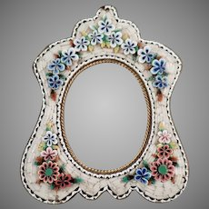 Small Vintage Micro Mosaic Frame with Floral Design and Pretty Shape