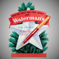 Vintage Waterman's Fountain Pen Christmas Advertising - Cardboard Sign
