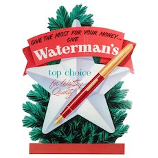 Vintage Waterman's Fountain Pen Christmas Advertising - Cardboard Sign
