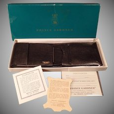 Vintage Black Leather Prince Gardner Wallet Billfold with Original Gift Box – 1960's