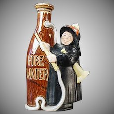 Vintage Schafer & Vater Figural Flask - Fireman with Fire Water Nip