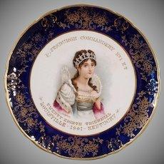 Vintage Knights Templar Souvenir Porcelain Portrait Plate with Josephine - 1901