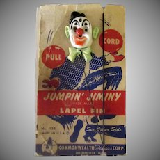Vintage Jumpin' Jiminy Clown Plastic Action Toy Lapel Pin with Original Packaging