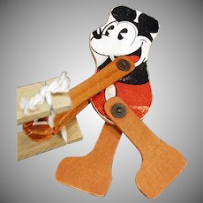 Vintage Pie-eyed Mickey Mouse Wood Trapeze Toy - Walt Disney Copyright