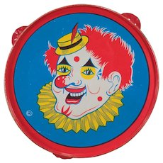 Vintage Tin Toy Tambourine Noise Maker with Colorful Laughing Clown