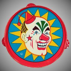 Vintage Tin Tambourine Toy with Brightly Colored Clown - Old Noise Maker