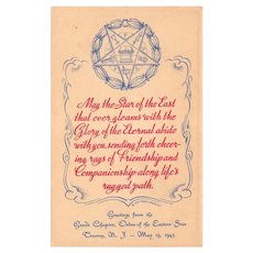 Vintage Eastern Star Masonic Postcard 1943 Grand Chapter Trenton New Jersey