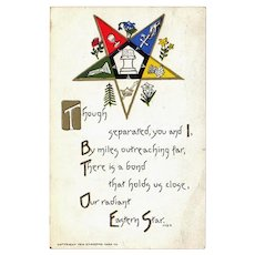 Vintage 1912 Eastern Star Masonic Fraternity Bond Postcard