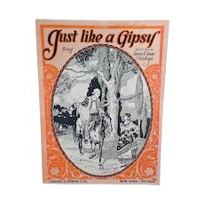 Vintage Sheet Music – Just Like a Gipsy – Nice Graphics with Wandering Gypsies