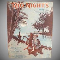 Vintage Sheet Music - Rio Nights Waltz - 1920 with Nice Graphics
