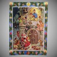 Vintage Advent Calendar – West German Christmas Calendar with Santa and Angels